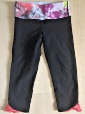 LULULEMON PURE MOVE CROP PANTS Black W Unicorn Tears size 4 Ruffles Run Gym Yoga