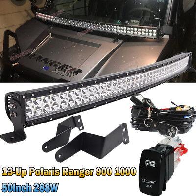 Polaris Ranger 570//900//1000 Roof 52/'/' LED Light Bar Bracket+Fog Pod A-Pillar Kit