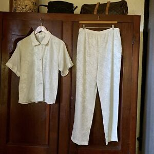 Rare VICTORIAS SECRET Vtg Gold Label Pajamas Satin White Floral MEDIUM