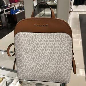 Michael-Kors-Womens-Medium-Large-Travel-School-Backpack-Bag-PVC-Leather-Vanilla