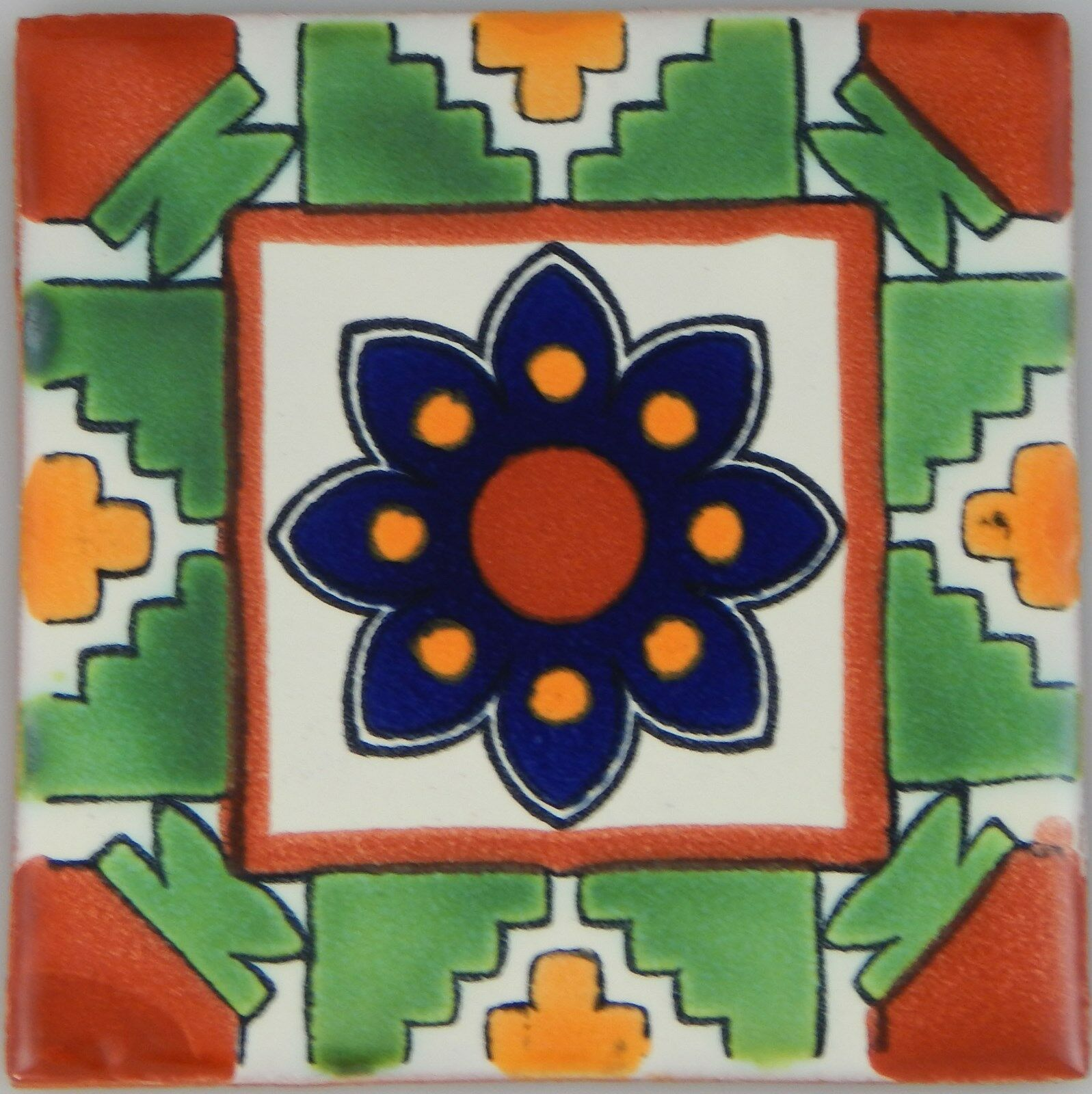 C291- Mexican Handmade Talavera Clay Tile Folk Art 4x4