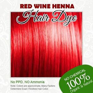 Red Wine Henna Hair Dye - 100% Organic and Chemical free Henna for ...