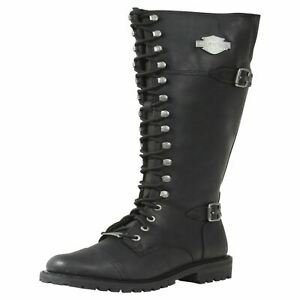 c2ff623a7be Details about LADIES HARLEY DAVIDSON BEECHWOOD LACE ZIP UP LEATHER RIDING  BIKER BOOTS D83856