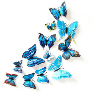 Double-Butterfly-Wall-Stickers-Home-Party-Decoration-Blue-3D-Dimensional-Sticker