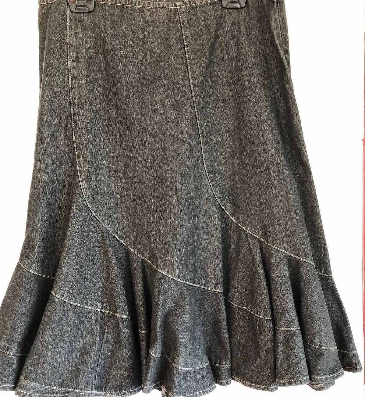 DKNY Jeans Skirt Side Zip 100% Cotton 14