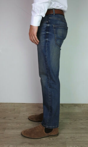 NEW MENS STRAIGHT LEG REGULAR FIT WORK TROUSER SIZES DENIM JEANS Pants Trousers