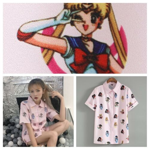 NEW Pink *SAILOR MOON* Bunny Serenity Princess Manga Anime Blouse Tee Top Shirt