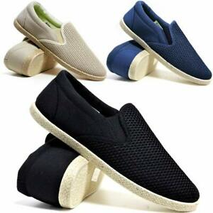 Mens-Slip-On-Casual-Canvas-Espadrilles-Deck-Plimsolls-Trainers-Pumps-Shoe-Size