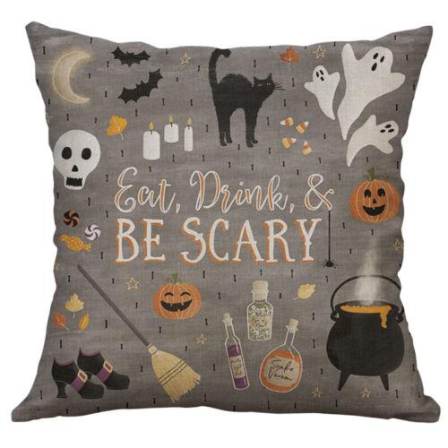 "18/"" Halloween Print Cotton Linen Cushion Cover Sofa Waist Home Decor"