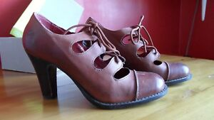 Womens Dark Leather 7 41 brown Vintage Bronx uk High Tan retro Shoes Heel Size qwxBZ1