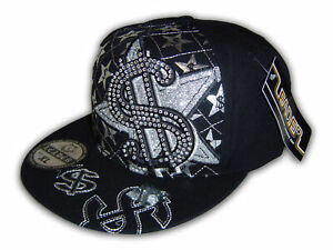 f459d1664c15a Money Sign on Black Fitted Flat Brim Cap Hip Hop Style Hat