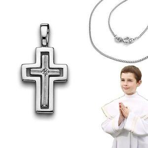 Kinder Kommunion Firmung Baby Taufe Zirkonia Kreuz Anhänger mit Kette Silber 925