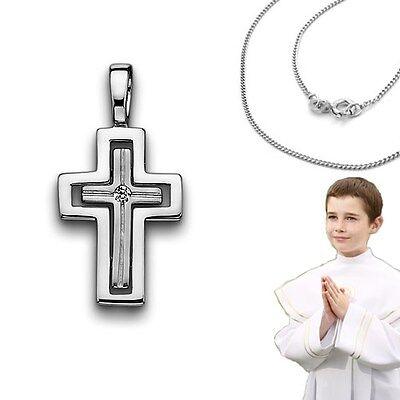 Baby Taufe Kinder Kommunion Firmung Zirkonia Kreuz Anhänger mit Kette Silber 925