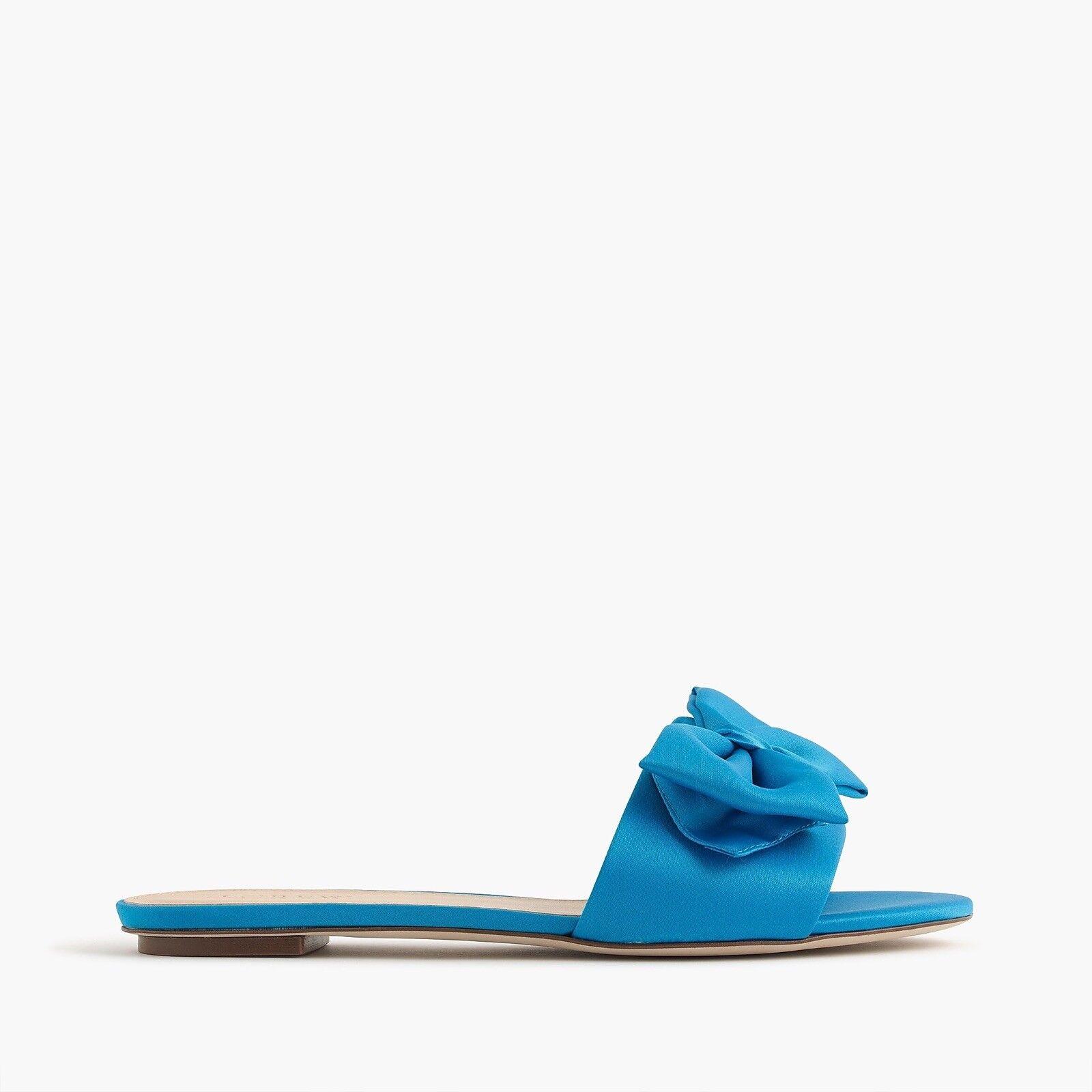 128 NUOVO J.CREW Satin sandali a slide con bow BRASILIAN blu Sz 5  presa di marca