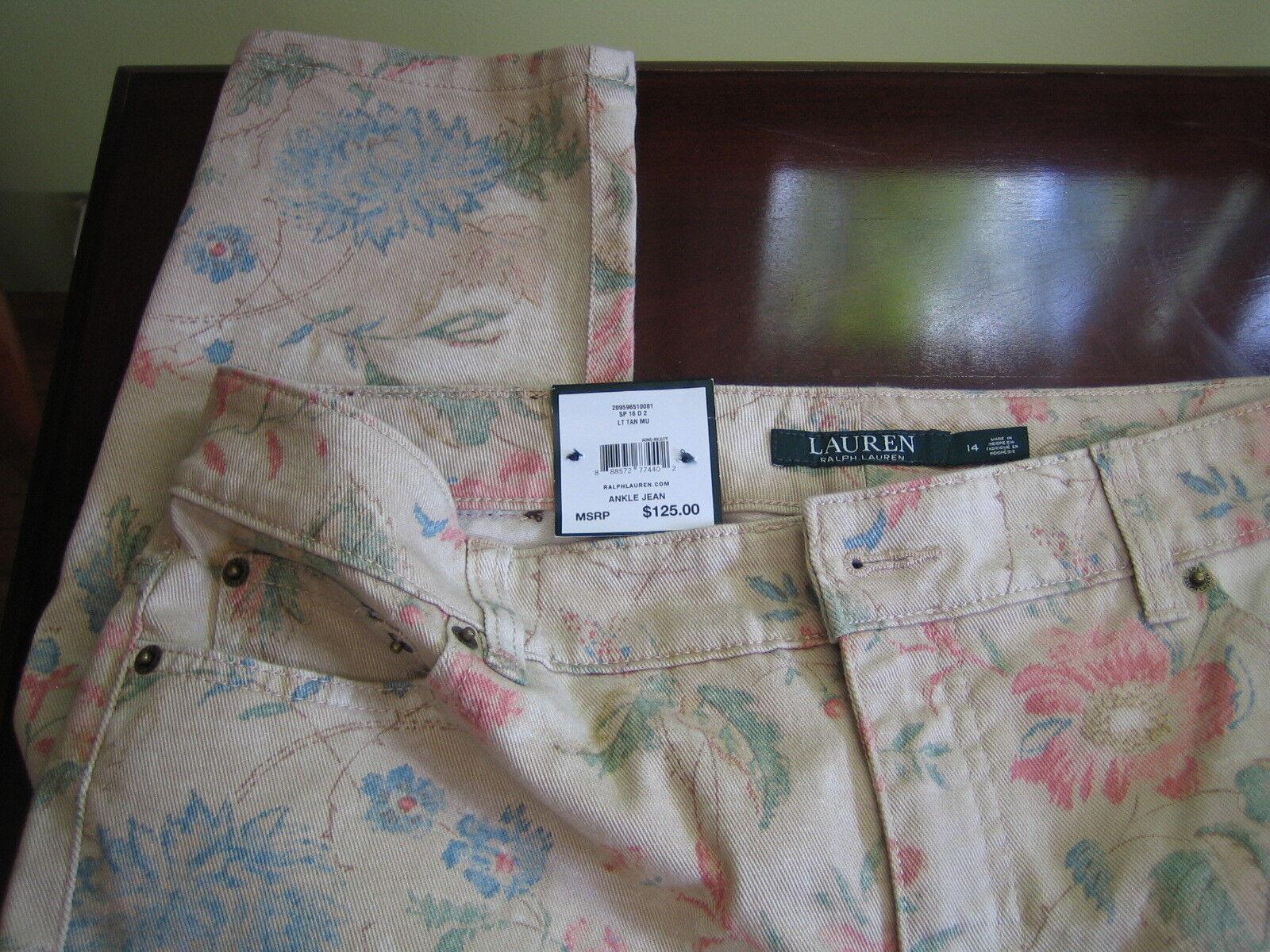 125 RALPH LAUREN JEANS minc Fit Cheville De Coton Floral Tapestry pastel 14