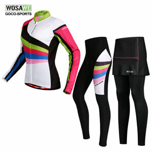 WOSAWE-Women-Cycling-Suit-Long-Sleeve-Jersey-Padded-Pants-Set-MTB-Bike-Bicycle
