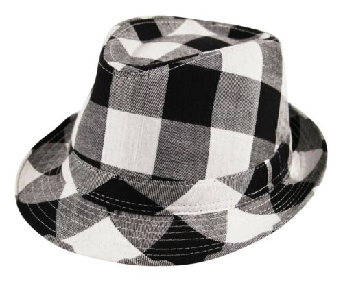 Unisex Lumberjack Check Trilby Fedora Checkered Hat Cap
