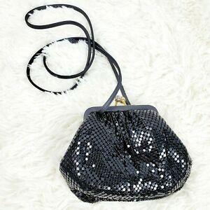 Vintage-Whiting-Davis-Women-039-s-Black-Metal-Mesh-Crossbody-Evening-Bag-EVC