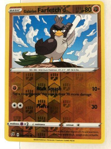Pokemon TCG S/&S Rebel Clash Galarian Farfetch/'d 094//192 Reverse Holo Common