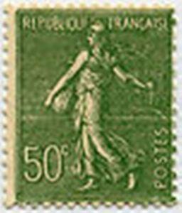 FRANCE-STAMP-TIMBRE-198-034-SEMEUSE-LIGNEE-50-C-OLIVE-034-NEUF-xx-TTB