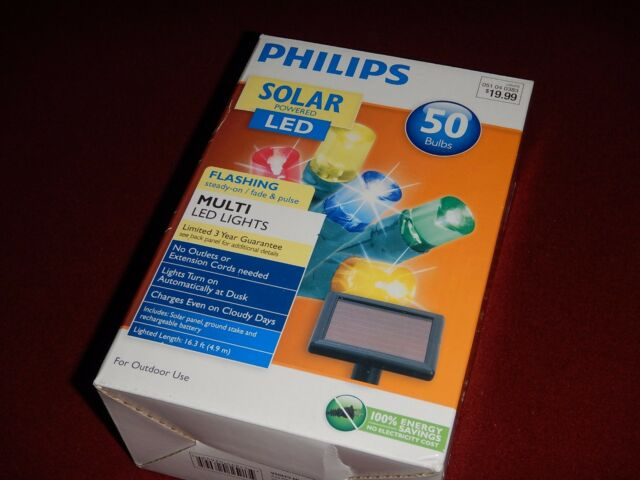 Philips Solar Powered LED 50 Multi Color Mini Light Bulbs Outdoor Use NIB  16.3ft - Philips Solar Powered LED Christmas Lights 50 Bulbs Value EBay