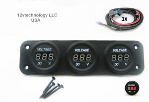 Awesome Three Battery Bank Monitor 12V Voltmeter Rv Marine Boat House Wiring Cloud Hisonuggs Outletorg