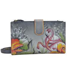 Anuschka Leather Wallet With Smart Phone Case Handbag Cross Body Bag Purse New