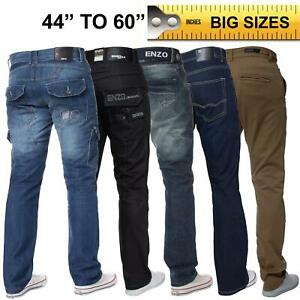 Enzo-Mens-Jeans-Big-Tall-Leg-King-Size-Denim-Pants-Chino-Trousers-Waist-44-034-60-034
