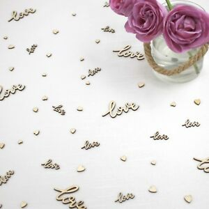 Wedding-Table-Decorations-Rustic-Small-Wooden-Hearts-amp-Worded-Love-Confetti