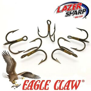 Treble-Hooks-Eagle-Claw-954-Sizes-2-10-Bronze-Spinner-Lures-Pike-Flying-Cs