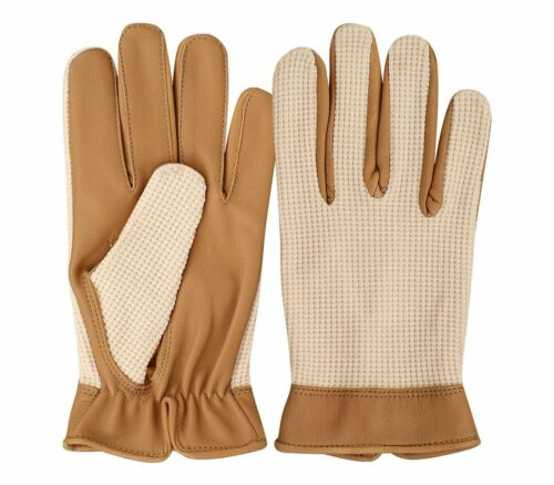 XL Mens Genuine Real Leather Chaffeur Limo Driving Gloves in Black and Tan S