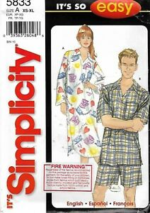 Simplicity-5833-Pattern-for-Unisex-Pajamas-XS-to-XL