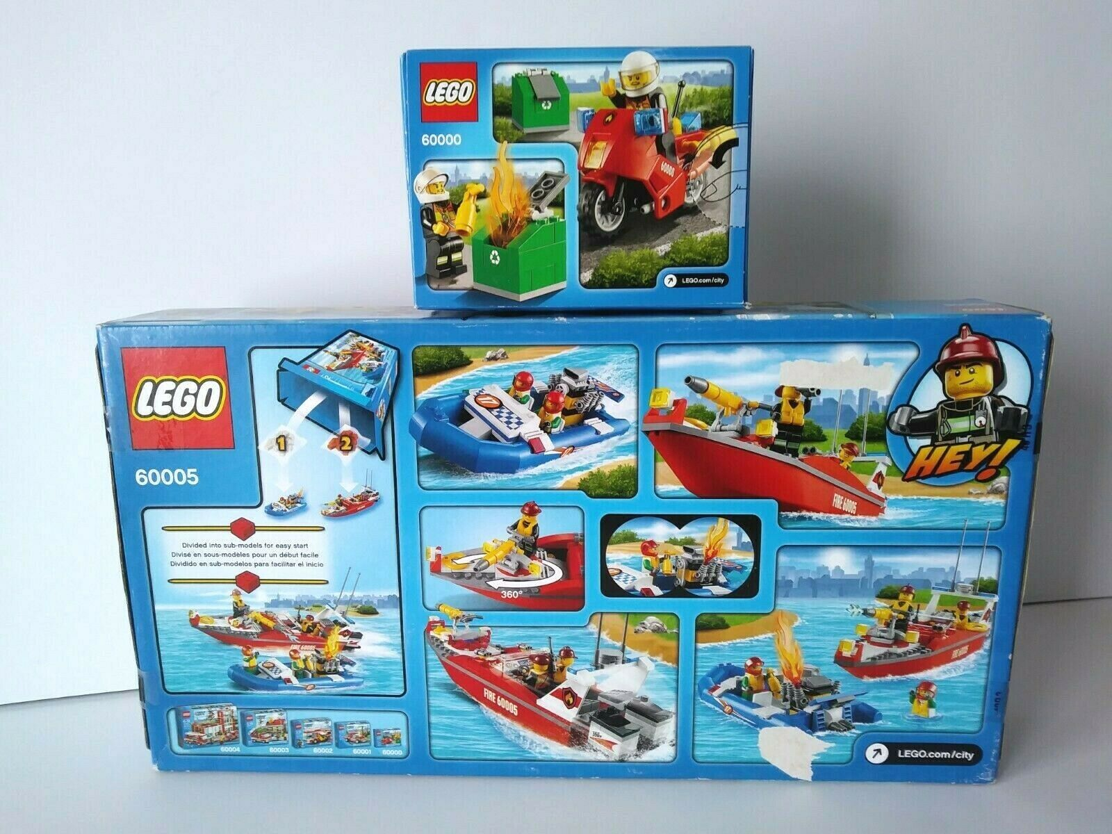 LEGO LEGO LEGO City 60005 Fire Department Speed Boat + 60000 Fire Motorcycle RARE RETIRED  36b4fe