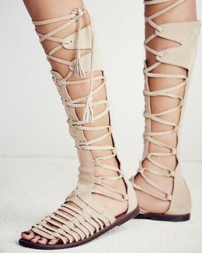 Retro Women Knee High Sandals Flats Lace Up Strappy Gladiators Roman Shoes