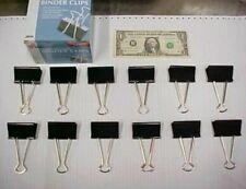 """Box of 12 Hardened Steel 2"""" Large Binder Clips, Paper Notebook Report Clamps New"""