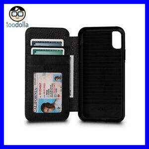 competitive price 6a9e8 a40fa Details about SENA Bence Wallet Book, Leather Folio Case, card storage,  iPhone X / XS, Black