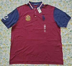 Big-amp-Tall-New-Polo-Ralph-Lauren-Mens-Big-Pony-Polo-Shirt-Red-Multi-2XLT-amp-3XLT