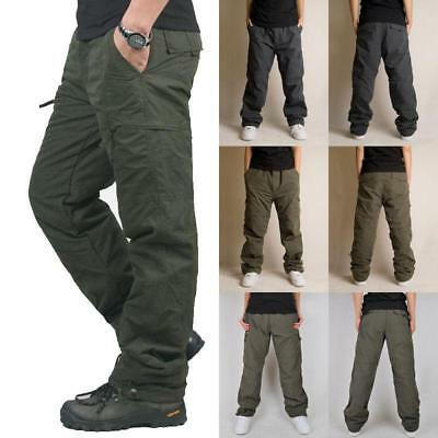 Chic Mens Cargo Loose Pants Cotton Blend Casual Trousers work Overalls Plus Size