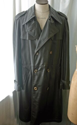 Vintage ABERCROMBIE & Fitch Leather Men's Trenchco