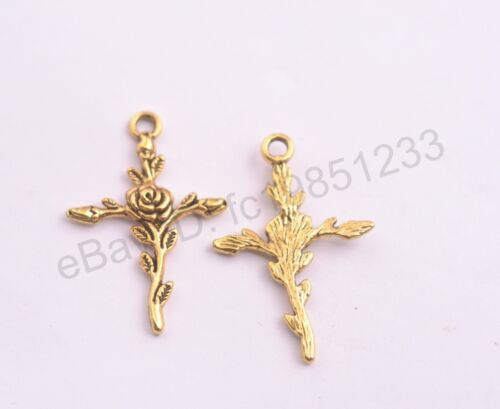 10Pcs Tibetan Sliver Gold Rose Flower Cross Charms Pendants 35X23MM M45