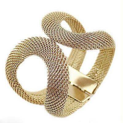 Women Gold Plated Bangle Hollow Cuff Bracelet Jewelry Hand Chain Wristband DIY
