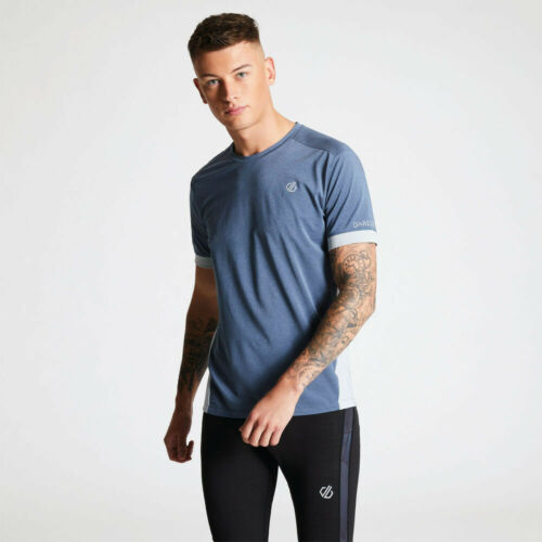 Dare 2b Mens Unifier Lightweight Ventilated T Shirt Tee Top Blue Grey Sports Gym