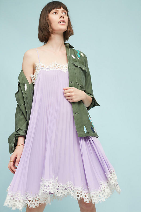 Anthropologie  Pleated Slip Dress NWT new S   lilac Farbe small