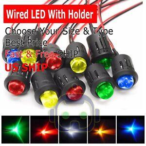 3mm-5mm-8mm-10mm-Pre-Wired-LED-Holder-DC9-12V-Color-Lights-Emitting-Diodes