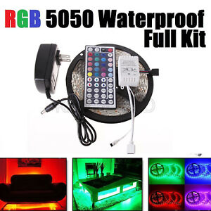 16ft-SMD-RGB-5050-Waterproof-LED-Strip-light-300-amp-44-Key-Remote-amp-12V-Power-Kit