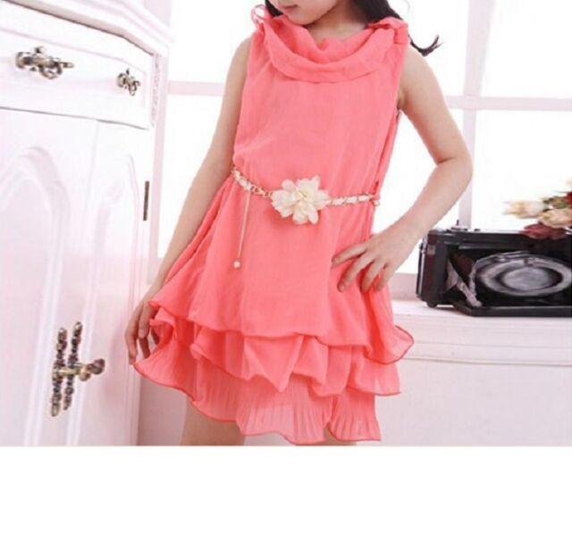 Sommerkleid Kleid Mädchenkleid Chiffon Volant Rüschen  Gr:  110, 122, 134 - 140