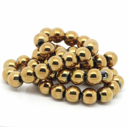 Lot 10 Perle Hematite Doré 8mm Perle Hématite Creation bijoux bracelet Collier