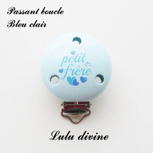 Pince // Clip bois Cœur : Bleu clai passant boucle Petit frère attache tétine