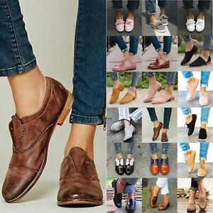 WOMENS-LEATHER-BROGUES-FLATS-HEELS-SLIP-ON-PUMPS-OXFORD-COMFY-SHOES-LOAFERS-SIZE