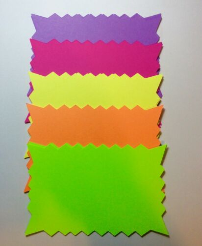 """3""""H 250 Rectangle Fluorescent Starburst Price Neon Retail Tags Cards Signs"""